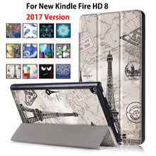 For Amazon 2017 New Kindle Fire HD 8 Case Painted Print PU Leather Stand Smart Sleep Cover Funda For kindle fire hd8 2017 new(China)