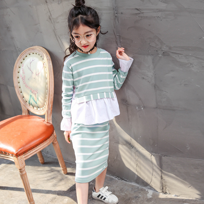 Childrens Garment Girl Autumn New Pattern Shirt Split Joint Suit Girl Pure Cotton Stripe Two Pieces Kids Clothing Sets<br>