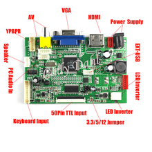 High Brightness HDMI VGA 2AV 50 Pins Parallel RGB TTL PC Controller Board + Remote for Raspberry PI 3 IPS TFT LCD Display Panel