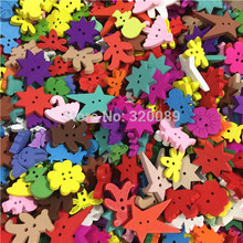 150pcs 20-30mm Bright Mix Wood Buttons Baby Fancy Button Bear Star Christmas Umbrella Sewing Accessories For Scrapbooking