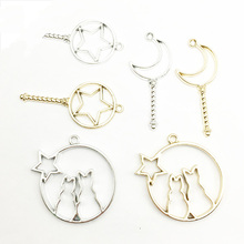 5pcs/set Fashion Bright Gold Bright Silver Alloy Small Pendant Bracelet Hollow Cat Star Moon Key Stick DIY Jewerly Findings