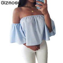 2017 Off Shoulder Shirt Women Sexy Summer White Blouse Casual Flare Sleeve blusas Solid Beach Wear cheap clothes china BN488