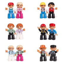 12pcs/set Big Size action figures Blocks Compatible DUPLOS Family Worker Police Bricks Figure Toys For Kids Christmas Gift(China)