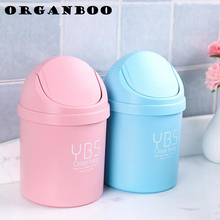 1PC Mini desktop trash can debris clean rolling cover type desk organizer car waste bin office pen holder garbage bucket