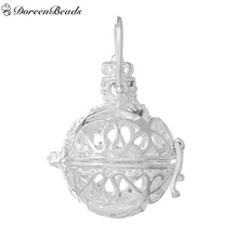 DoreenBeads Copper Wish Box Pendants Silver color Pattern Hollow Carved Can Open (Fits 18mm Beads) 41mmx 26mm, 2 PCs
