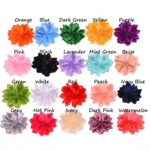20PCS 4CM Artificial Flower Satin Flowers DIY Flower Bouquet for Hair Accessories Rosette Pointed Flower No Hair Clips