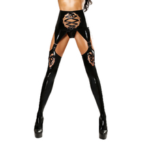Buy Fetish Pants Exotic Crotchless Wetlook Leather Leggings Trousers Legins Open Hip Lace Bondage Leggings Faux Leather Stockings
