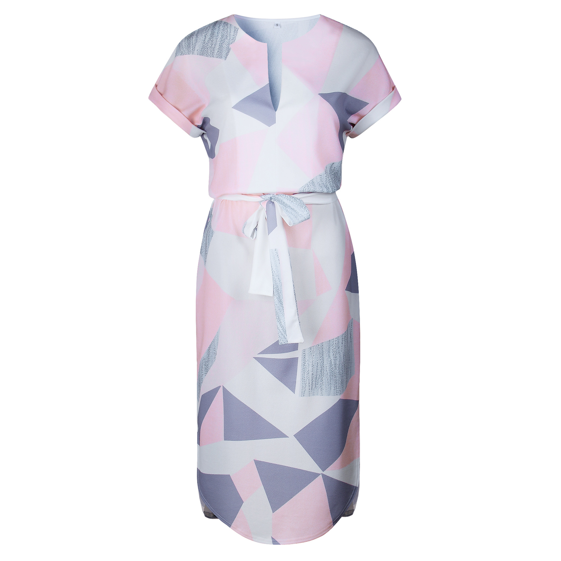 2018 Summer Dress Women Print V Neck Short Sleeve Robe Female Dresses Casual Sashes Midi Dress Ladies Elegant Vestidos Dropship 48