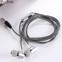 ZUCZUG Earphone for MP3 MP4 Wiring Subwoofer Headset Ear Braided Rope Wire Cloth Rope Earplug Noise Isolating Earphone Handfree(China)