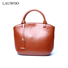 LAUWOO Top quality Women's Vintage Mini tote Bag Cow leathe shoulder Bag for women fashion Genuine Leather Summer hand bag