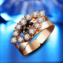 Big Promotion Exquisite gold color Micro Inlay Clear & black AAA Cubic Zircon Couple Knuckle Rings,fashion Labium shape ring