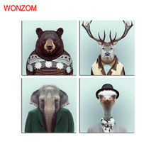 WONZOM Bear Canvas Art Animal Decorative Pictures Deer Poster Retro Elephant Wall Canvas Pictures For Home Decor Gift No Frame(China)