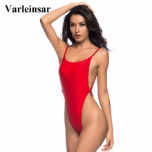 Varleinsar 2017 Sexy high cut one piece swimsuit Backless swim suit for women Swimwear thong Bathing suit female Monokini V478(China)