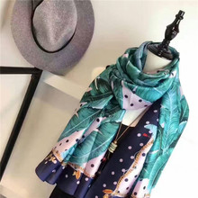 Luxury Brand Scarf for Women Fashion Polka Dot Hemp Palm Leaves Printed 100% Silk Scarf Ladies Silk Scarves and Shawls Cachecol