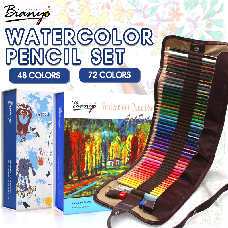 Bianyo 48/72 Colors Water Soluble Pencils Gift Package Children Colored Sketch Watercolor Pen Set For Artist Drawing Supplies<br><br>Aliexpress
