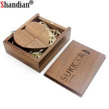 SHANDIAN LOGO customized wooden Heart USB + BOX USB Flash Drive Pendrive 64GB 32GB 16GB 8GB U Disk photography wedding gifts(China)