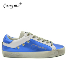 CANGMA Blue Shoes Leather Men Genuine Men Casual Platform Sneakers Shoes Adult Male Breathable Footwear For Men Valentine Shoes(China)