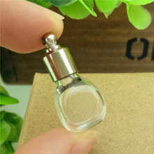 50pieces SCREW CAP 25.5*11.6*10.6mm square glass vial pendant perfume essential oil wishing bottle glass pendant glass bottle