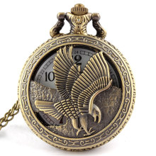 Vintage Jewelry Antique bronze Eagle Wings Shiying Huai Table pocket watch necklace pendant gift for men and women