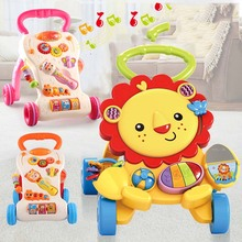 Baby Learning Walker Steps Walker and Walk Behind Discovering Lion Cartoon Music Baby Walker And Sit to Stand