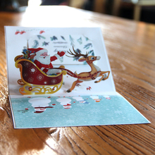 3D Pop up Cards Merry Christmas Customized Logo Greeting Postcards Thanksgiving Day Gifts Cards Vintage Colourful Santa Ride