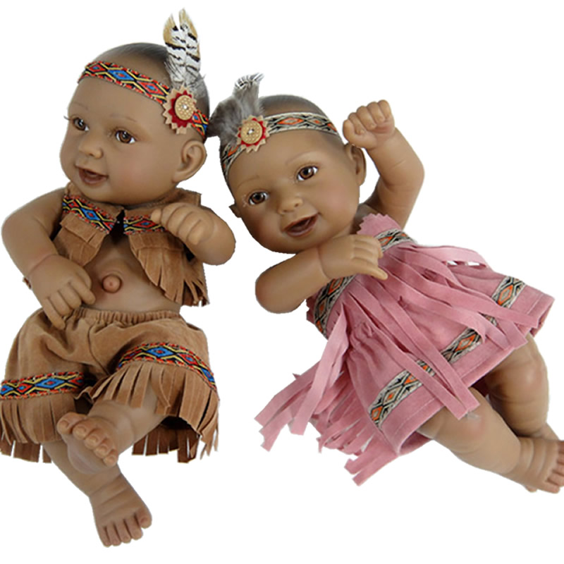 Rare Educational 11 Inch Twins Native American Indian Baby Doll Full Soft Silicone Newborn Doll Kids With Native Clothes  <br><br>Aliexpress