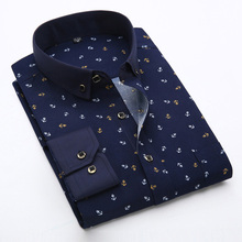New 2017 Spring Men Casual Shirts Fashion Long Sleeve Brand Printed Button-Up Formal Business Polka Dot Floral Men Dress Shirt(China)