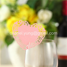 100pcs Laser Cut Name Place Card Cup Paper Card Table Mark Wine Glass Wedding Party Decoration Love Heart Shape Paper Craft