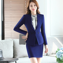Lenshin Blue Two Piece Set Ladies Formal Skirt Suit Office Uniform Designs Women Business Suits for work
