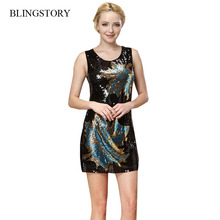 BLINGSTORY Europe high quality Bling paillette leaf sexy women black shinning novelty Sequin dresses evening dropship