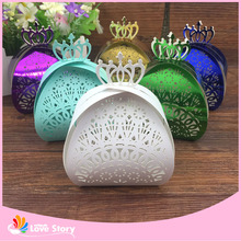 50pcs Crown Laser Cut Chocolate Box Packaging Candy Box Wedding Favors Party Supplies Wedding Decoration Wedding Favor Box(China)