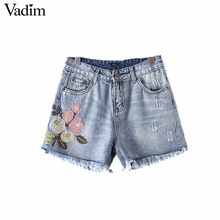 Vadim women sweet floral embroidery tassel denim shorts ladies classic short jeans summer casual fringe shorts DK369