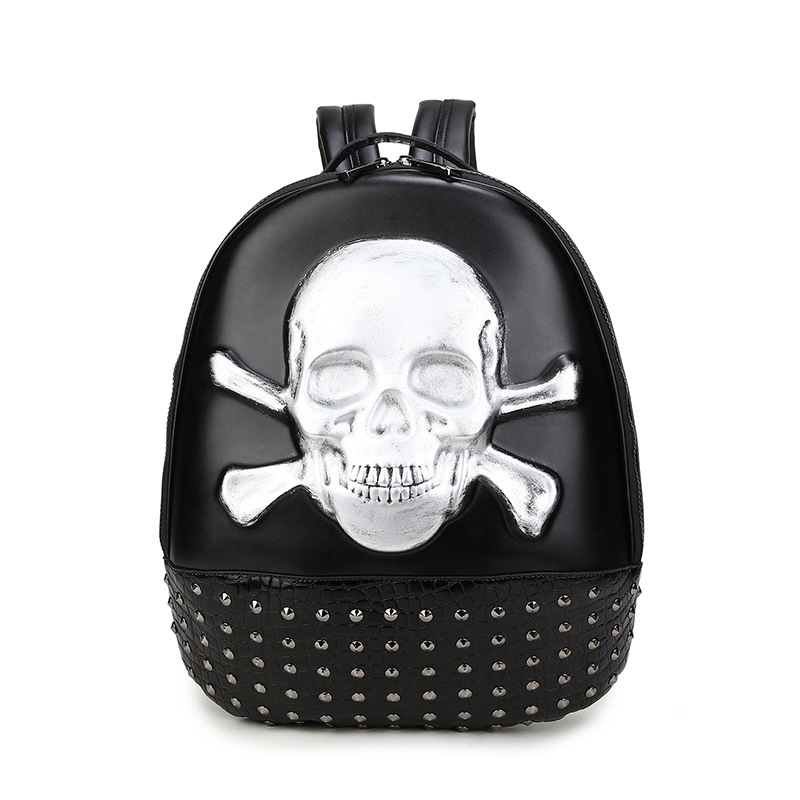 2018 New Fashion Men Women Backpacks Skull Skeleton Print Quality Pu Leather Famous Brand Preppy Style School Student Backpack<br>