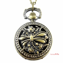 Pocket Watch NecklaceBronze Dragonfly Openwork Cover Quartz Pocket Watch(NBW0PA7102-CO3)(China)