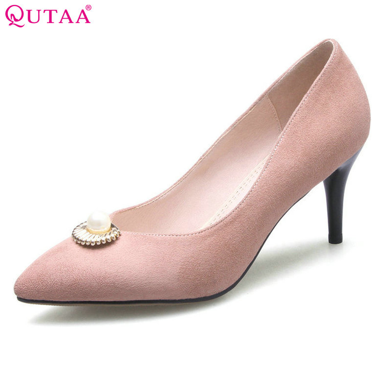 QUTAA 2017 Women Pumps Ladies Shoes Thin High Heel Beading Pointed Toe PU leather Princess Style Woman Wedding Shoes Size 34-39<br>
