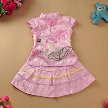 summer Children's outfit Children's clothes High-grade cotton cloth Cotton and linen flower qipao dress Girl's slim dress