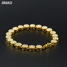 JINAO Hip Hop Gold Color Plated Bracelets  All Iced Out CZ Stone Cake Shaped Cluster Iced Bracelet For Men & Women