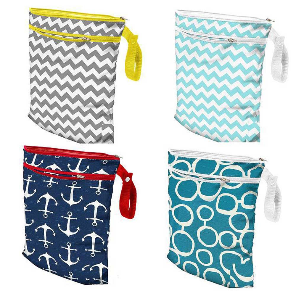 Baby Nappy Washable Nappy Wet Dry Cloth Zipper Waterproof Diaper Bags EW