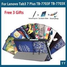"Ultra Slim Stand Leather Case For Lenovo Tab3 7 Plus TB-7703x TB-7703 TB-7703f 7"" Tablet PC case Cover+Screen Protector gifts"