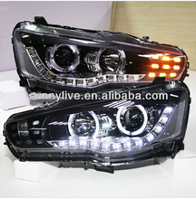 FOR MITSUBISHI Lancer Exceed LED Head Lamp Angel Eyes 2008 TO 2013 PW Type(China)