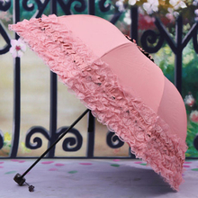 TFBC-Women's Princess Dome/Birdcage Sun/Rain Folding Umbrella For Wedding Lace Trim