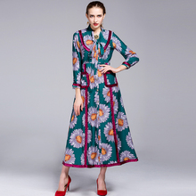 Elegant Women Dress New Uk Style 2016 Autumn Winter Long Sleeve Sunflowers Print Topshop Split High Street Charming Dress