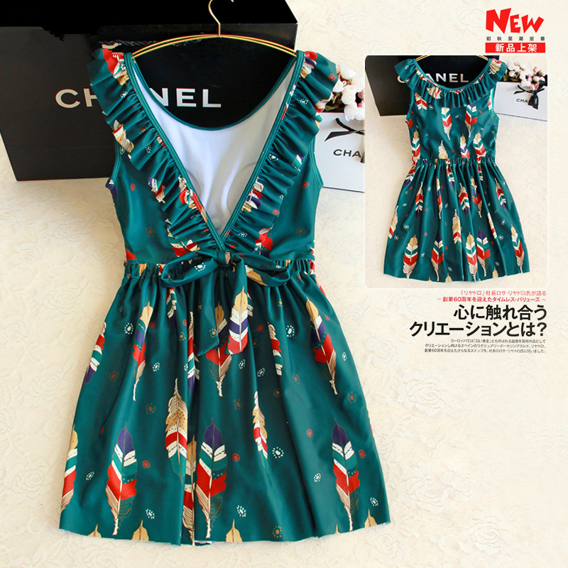 STAERK 2017 retro feathers printed one-piece skirt swimsuit women feel big halter was thin cover belly conservative hot spring <br>