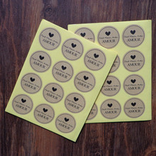 "1200pcs ""Fait main Avec Amour"" Kraft Seal Sticker ,French handmade Seal Label Sticker For Party Favor Gift Bag Candy Box Decor(Hong Kong)"