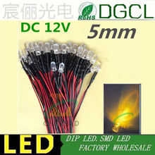Hot sale DC 12V/24V Pre-wired led 5mm round yellow led diode 20cm cable for  indicate lighting prewired lamp bulb