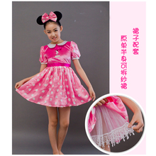 Free Shipping ,COSPLAY Children pink Minnie mouse costume Set dress and headband halloween dress up party costume for kid
