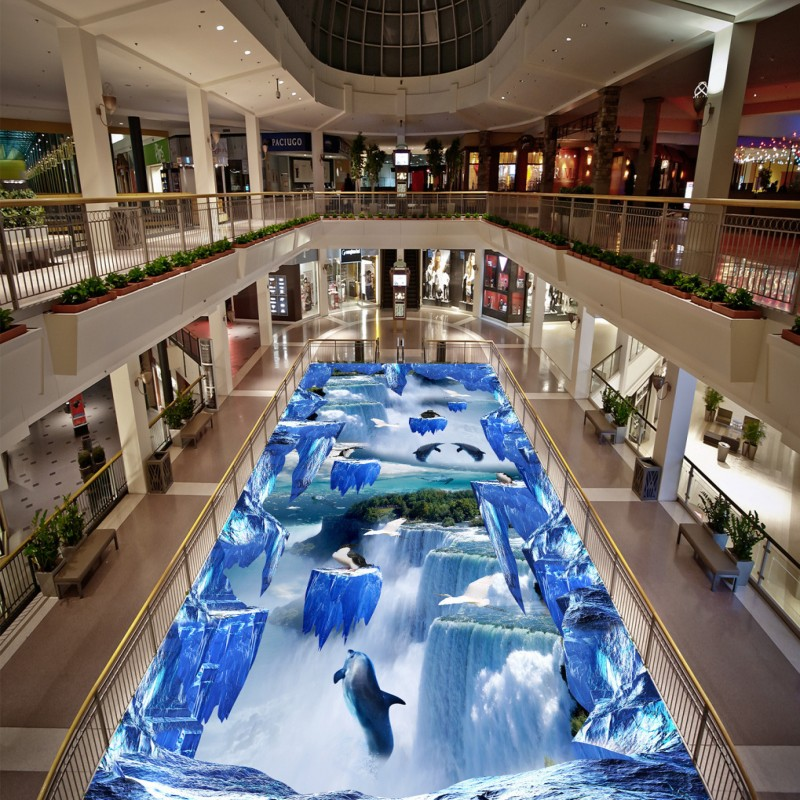 Free Shipping non-slip wear floor mural Waterfall Suspension Mountain 3D picture painting wallpaper square street paste floor<br>