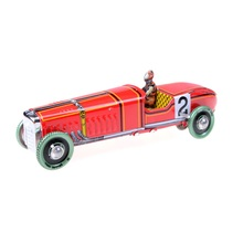 Collectable Gift Restoring Ancient Toy Iron Metal Handicraft Vintage Windup Classic Red Race Car Model Clockwork Tin Vehicle Toy(China)