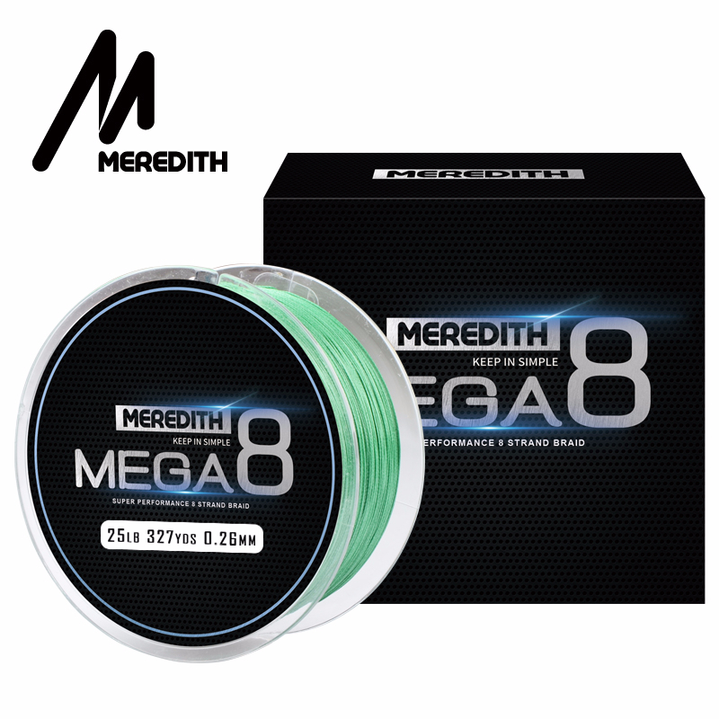 Meredith Mega8 Fishing Line 300M 8 Strand Weaves PE Braided Fishing Line Rope Multifilament 10LB 15LB 20LB 25LB 30LB 40LB 50LB
