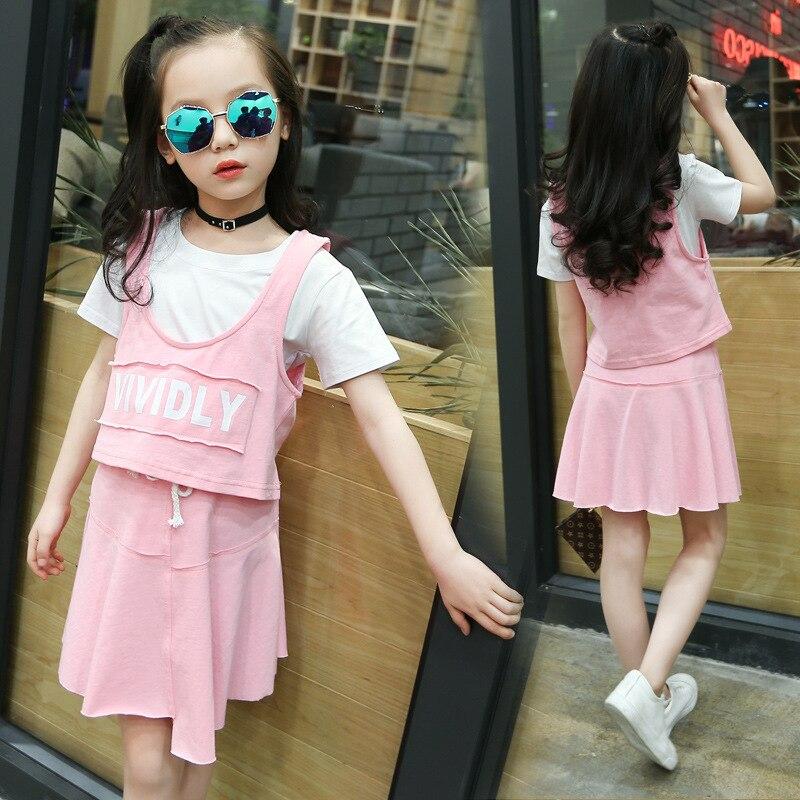 Childrens Garment Girl 2017 Summer Letter Vest + Short + Short Skirt Three-piece Leisure Time Skirt Suit<br>